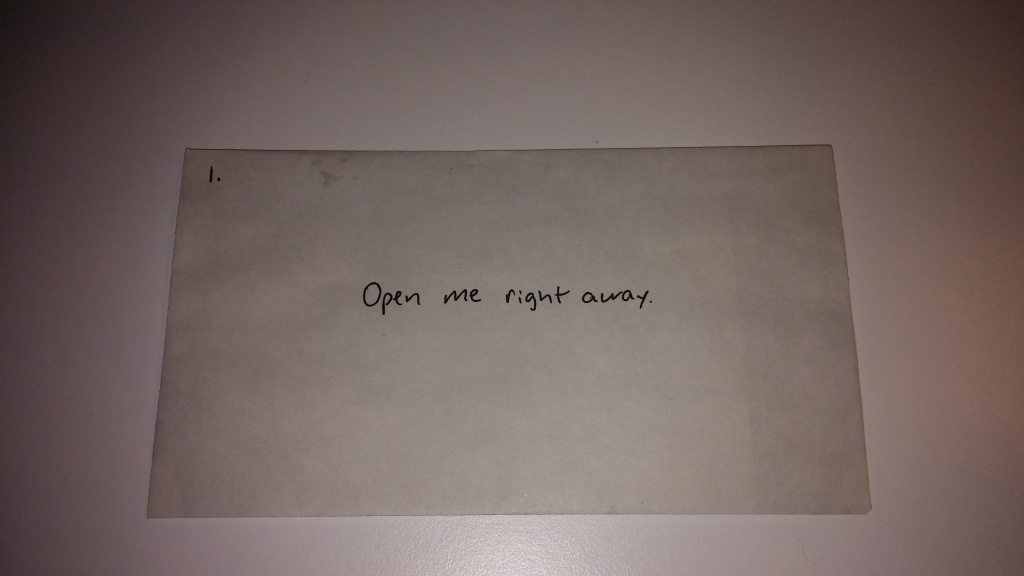 "An envelop that says ""open me right away"""