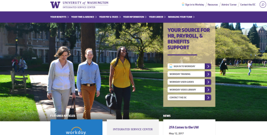 Homepage of the Integrated Service Center showing three people walking, framed by content