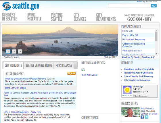 Home page of Seattle.gov in early 2011
