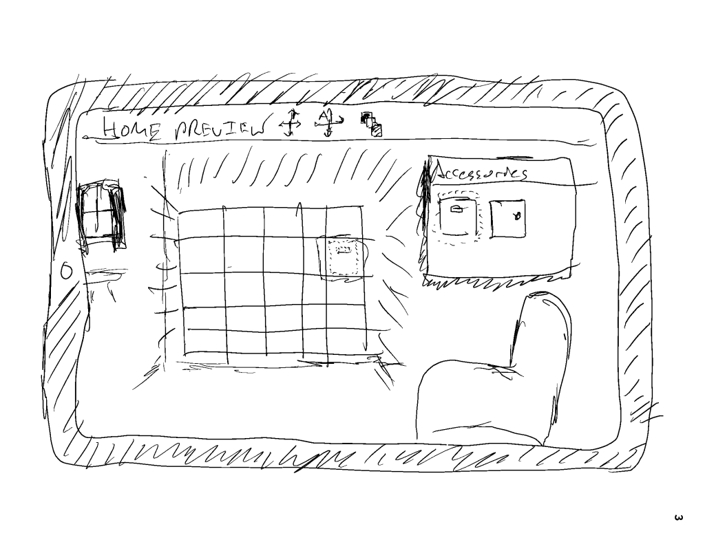 A sketch drawing of an application that lets people preview how items may look inside their home